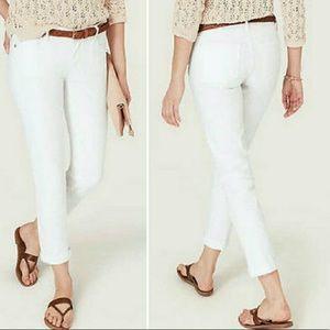 Loft White Denim Cuffed Crop Jeans Size 12
